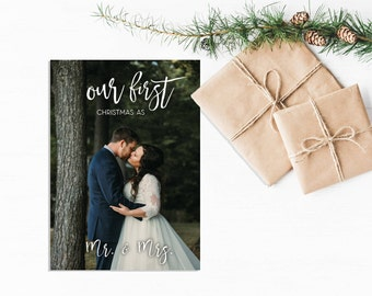 DIGITAL First Christmas as Mr & Mrs Photo Christmas Card