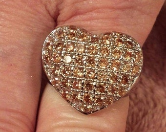 Large Honey Topaz Gemstone Sterling Silver Plated  Heart Ring  Size 6