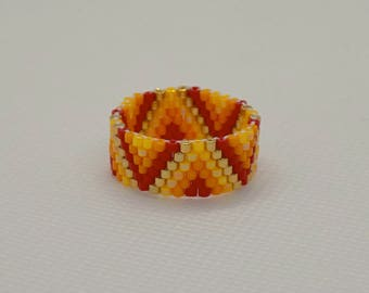 Colourful  Geometrical Handmade Peyote Stitch Ring with a Golden Touch