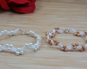 White & Copper Glass Pearl Beads with White Seed Beads Bracelet, Weaving bracelet, Glass Seed Beads, with Lobster Clasp