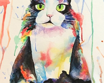 Rainbow Cat Watercolor