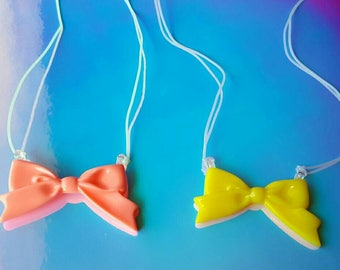 Pink and Yellow Bow Friendship Necklaces