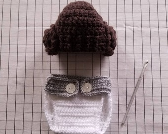 Princess Leia Hat with Diaper Cover