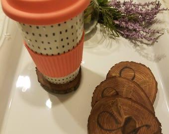 Wooden monogrammed drink coasters