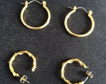 Gold Tone Earrings, Pierced Earrings, Lightweight Earrings