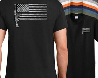 USA AK-47 Rifle Flag Shirt - AK47 shirt, military firearm shirt, American rifle shirt.