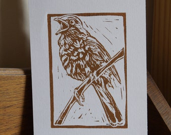 """Original, Unframed, Hand Pulled, Linocut Print - Nightingale - 6""""x4"""" on A5 Paper - lino ink paper"""