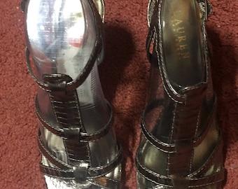 Women RALPH LAUREN Bronze Leather Strappy Sandal Shoes Size 8 Medium