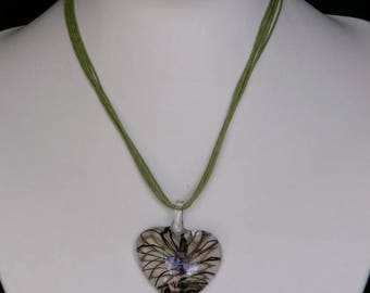 Brown Lampwork Glass Heart Necklace