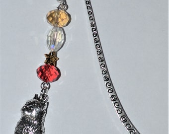 Sitting Cat Bead Bookmark in English Pewter and Gift Boxed
