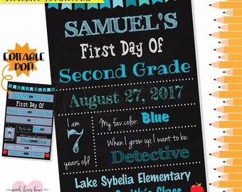 First Day of School Chalkboard, EDITABLE PDF, First Day of School Printable, First Day of School Sign, First Day Photo Prop, First Day Sign