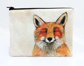 Foxy Friend - Zipper Pouch - Grinning Red Fox - Art by Marcia Furman
