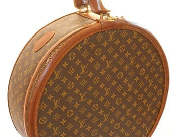 Louis Vuitton Monogram Round Hat Box Boite Chapeaux 50cm French Company 1970s Rare Vintage Travel Bag Tote Luggage