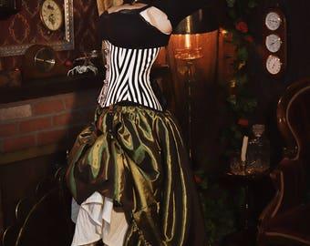 Steampunk Olive Green Taffeta Ruffle Skirt - Womens Halloween Costume - Renaissance Clothing - Green Fairy - Victorian Skirt