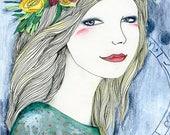 ORIGINAL Art Portrait Young Beautiful Goddess Flower Crown Boho Bohemian Gypsy Bright Pastel Blue Green Moon Cycle Illustration Flowing Hair