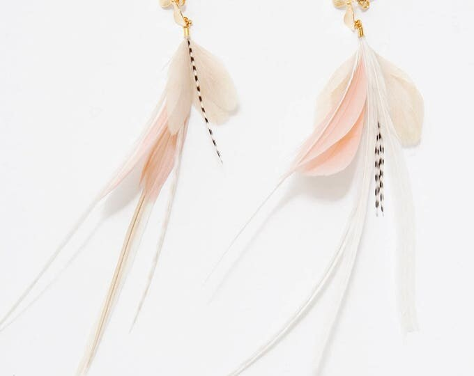 Featured listing image: NEW Feather Earrings. Gold Flower Stud Blush Pink and White Natural Feather Earrings. Long White Stripe Dangle Earrings. Spring Fashion SS17