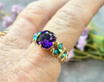 Purple Velvet & Blue Zircon, Swarovski Crystal Hand Crafted Wire Wrapped Ring, Ultra-Violet Purple, Fine Jewelry Unique Handmade Ring