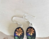 Sterling Silver Real Miniature Sunflowers Blue Background