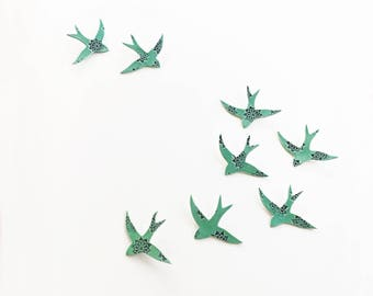 Large Wall Art 8 Porcelain swallows Ceramic bird wall sculpture set Teal turquoise blue Modern installation art Unique handmade artwork