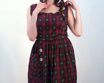 Lavina, 50s Purple Plaid Sundress M, Red Violet Plaid Dress, Rockabilly Sundress, 1950s Plaid Dress, Sleeveless Cotton Cute 50s Retro Dress