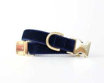 Luxe Velvet Dog Collar in Midnight Blue - Winter Dog Collar in Navy Velvet - Classic Velvet - Vintage Style