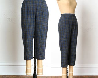 50s Plaid Knickers . Blue & Grey Wool Pants
