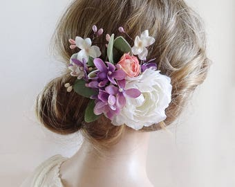 floral hair clip, lavender hair clips, purple hair flower, lilac and coral, bridal headpiece, bridal hair flower, white hair clip wedding