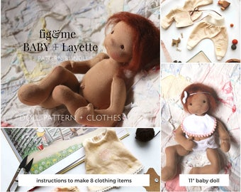 Doll Pattern | Pattern Bundle | Doll Clothing Pattern | Baby Fig and Baby Layette | Sewing Pattern | Dollmaking Pattern | Baby doll