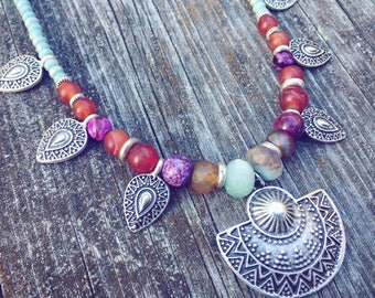 Tribal boho necklace