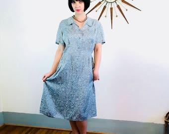 Vintage 40s Dress, 1940s Rayon Dress, Modern Classics Frock, Chevron Stripes, 40s shirt dress, Light Blue Gray, Pintuck Dress, Plus Size 14