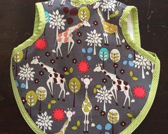 Bibs, baby boy, baby bib, bapron, toddler bib, girl bib, animal bib, tie bib, terry bib, 6-18 months, giraffe bib, waterproof fabric, baby