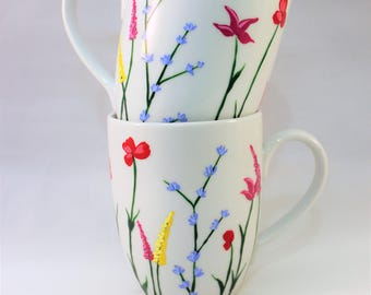 Wild flower coffee mugs, hand painted mugs with wild flowers, floral coffee mugs, set of 2
