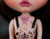 Holy Heart - tattoo corset - for Blythe, Licca, Pure Neemo - PREORDER - limited edition - handmade by KarolinFelix