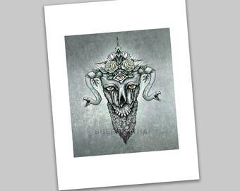 Magic, Skulls and the Undead Illustration, Gothic Surrealism, Horror Art Print, Sale