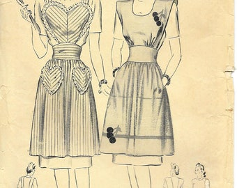BUTTERICK 1802 Size Small Bust 30 32 34 Vintage 1940's Apron Sweetheart Heart Shaped Pockets Applique Cherry Embroidery Transfer Pattern