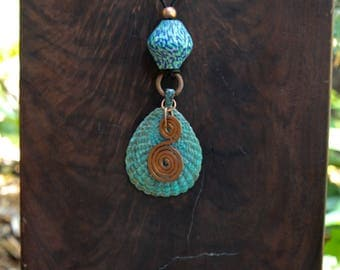 Large Blue Green Patina Seashell Pendant Verdigris Shell with Hammered Copper Spiral and large African Glass Accent Bead Jewelry
