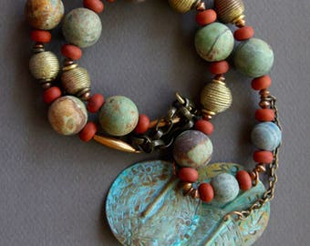 Green Peruvian Opal Necklace Big Earthy Matte Stones Green Brown w Matte Red Jasper and Vintage African Brass Ethnic Boho Gemstone Jewelry