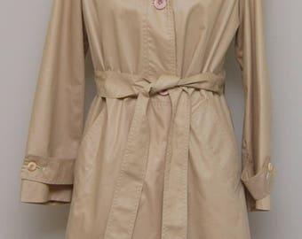 Vintage women's tan cotton blend all weather trench coat/ Vint women's tan trench coat/ Bertram