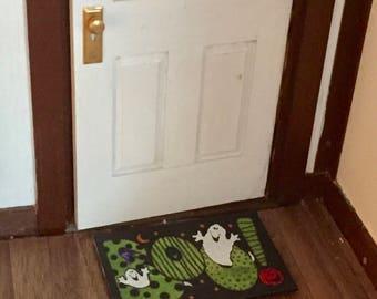 "Miniature Halloween ""Boo"" Welcome Mat Rug, Dollhouse Miniature, 1:12 Scale, Dollhouse Accessory, Decor, Holiday Mat, Door Mat, Mini Rug"