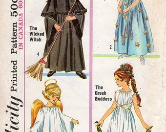 1960s Girls Costume Pattern - Vintage Simplicity 6201 - Size 8-10 Medium UNCUT FF Angel Fairy Witch Goddess