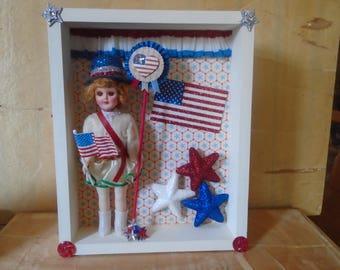 Patriotic 4th of July Americana Altered Shadowbox