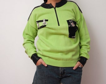 Vintage Neon Green and Black Sweater - Vtg Sweater with Dog Embroidery - Size Medium Large X-Large - Gift For Her - Gift for Dog Lovers