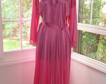 Vibrant Pink, Vintage Long Robe, Vanity Fair, Small/Medium, Swimsuit Cover