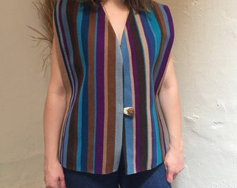 Woven Vest | striped sleeveless cover all vest shirt top jacket toggle button boho hippie folk ikat colorful unisex large L 70s vintage