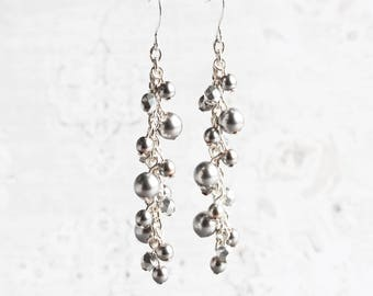 Silver Gray Pearl Cascade Cluster Bead Earrings on Silver Plated Hooks