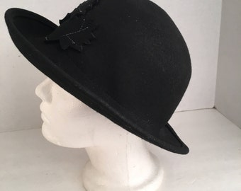 Diana Prince cosplay ladies black wool felt hat dressy winter fedora wide brim hat 80s 90s vintage