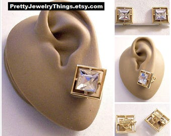 Avon Square Crystal Clip On Earrings Gold Tone Vintage Large Clear Faceted Floating Center Stone Wide Band Edge