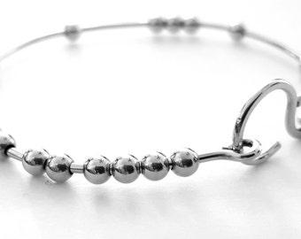 Silver Bangle Bracelet, 18 Chai Good Luck Bracelet, Stacking Bangle Bracelet, 18 Beads Bracelet, Handmade Bracelets, Venexia Jewelry