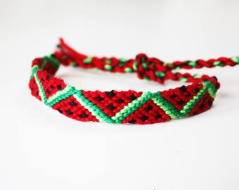 Watermelon Friendship bracelet -  Macramé knotted woven Boho geometric melon juicy fruit pattern design red green black pink fun cute kawaii
