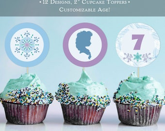 "Frozen Elsa Winter Birthday 2"" Cupcake Toppers Printable"